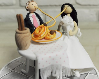 Lady and Tramp theme custom wedding cake topper-Cute couple sharing their pasta