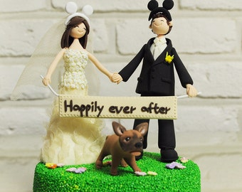 Custom Wedding Cake Topper - Mickey ear, holding Love sign, Happily ever after -
