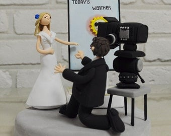 Custom Wedding Cake Topper - We are weather casters -