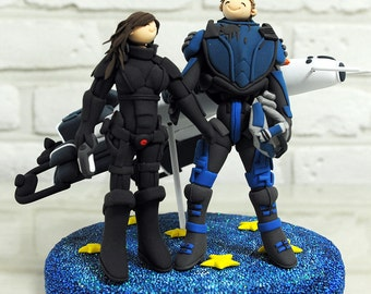 Miniature spaceship wedding cake topper decoration gift keepsake - the Normandy SR2 from Mass Effect 2
