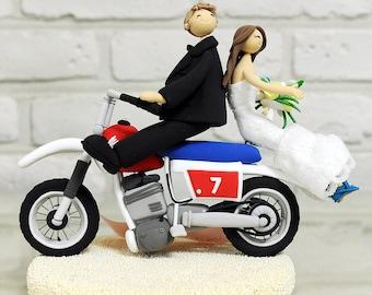 Cute couple on Bike custom wedding cake topper decoration gift keepsake