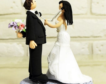 Custom Cake Topper -Doctor couple and jewish yarmulke
