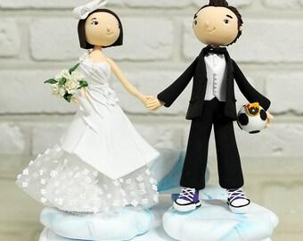 Cute couple caricature custom wedding cake topper decoration centerpiece