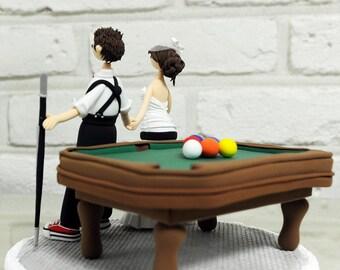 Playing pool, billiards custom wedding cake topper decoration gift keepsake