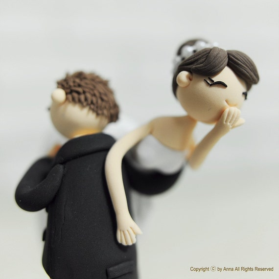 Custom Wedding Cake Topper -Lifting the Bride Over the Shoulder-