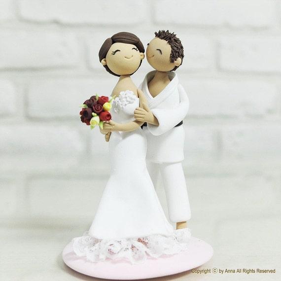 Jujitsu Judo sports wedding cake topper Decoration gift keepsake - groom likes bride and Judo