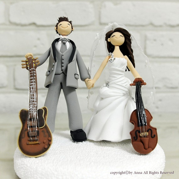 Custom Wedding Cake Topper - Musician couple Guitar and Violin - decoration gift keepsake