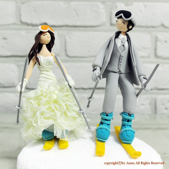 skiers wedding cake toppers items similar to ski snow board custom wedding cake topper 20178