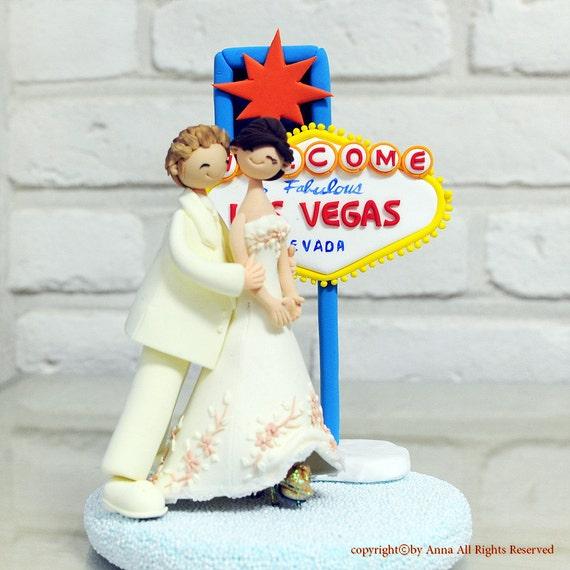 Etsy Wedding Cake Decorations : Items similar to Wedding Las Vegas custom cake topper ...