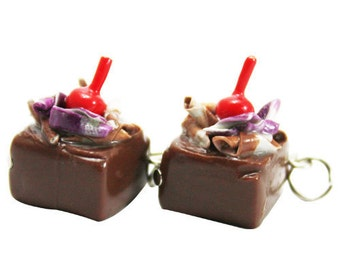 Miniature Chocolate and Cherry Polymer Clay Foods Supplies for Beaded Jewelry Charm, 2 pcs