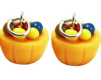 Miniature Candy Cupcake Polymer Clay Foods Supplies for Beaded Jewelry Charm, 2 pcs