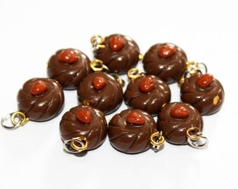 Miniature Chocolate Polymer Clay Foods Supplies for Beaded Jewelry Charm 10 pcs