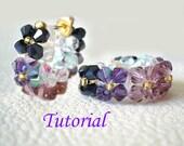Beading Tutorial - Beaded Floral Hoop Earrings Pattern