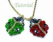 Beading Tutorial - Beaded LadyBug Pendant Pattern Ladybird Tutorial Beaded Pendant Pattern Crystal Pendant Tutorial Pendant Instructions