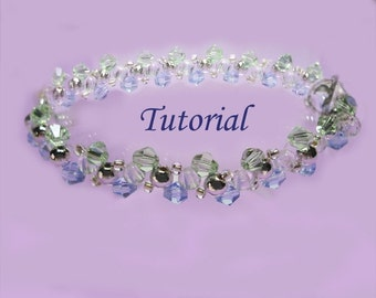 Beading Tutorial - Beaded Ocean Waves Bracelet Pattern, Bicone Tutorial, Beaded Bracelet Tutorial