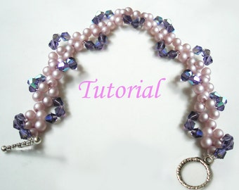 Beading Tutorial - Beaded Pearly Twine Bracelet Tutorial Beaded Bracelet Pattern Bracelet Beading Pattern How to make Bead Bracelet Crystal