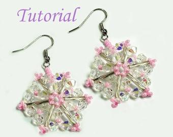 Beading Tutorial - Beaded Pink Christmas Snowflake Earrings Pattern