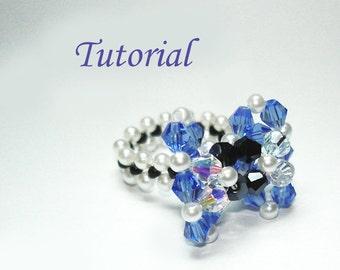 Beading Tutorial - Beaded Polka Dots Ribbon Bow Ring Pattern