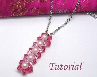 Bead Beading Tutorial - Beaded Cherry Blossoms Bar Pendant