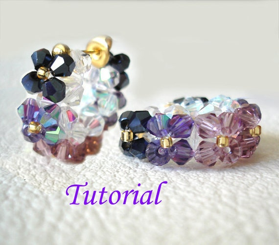 Beading Tutorial - Beaded Floral Hoop Earrings Pattern Ear Stud Post Earrings Tutorial Pattern Purple Floral Earrings Instructions How To