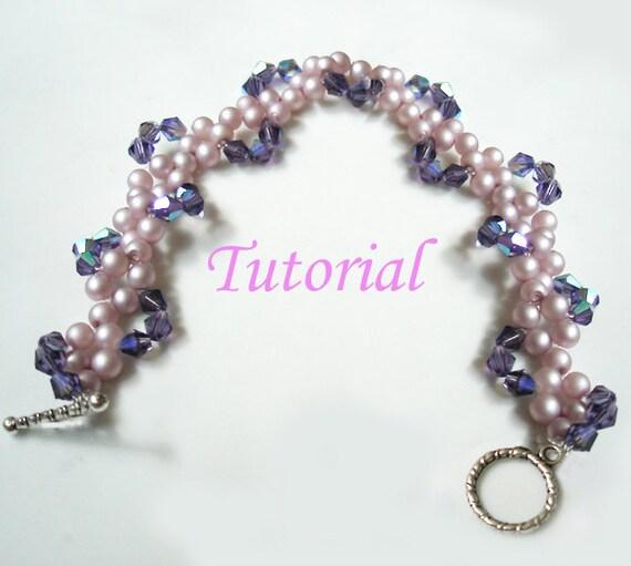 Beading Tutorial - Beaded Pearly Twine Bracelet Tutorial Beaded Bracelet Pattern Bracelet Beading Pattern How to make Bead Bracelet Crystal
