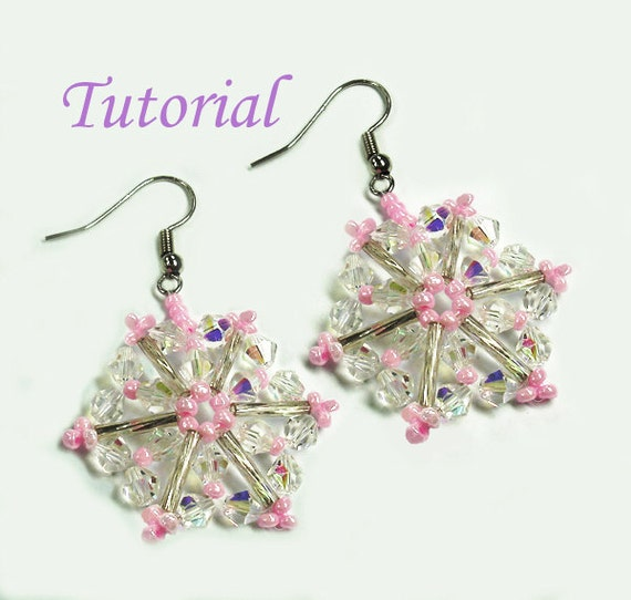 Beading Tutorial - Beaded Pink Christmas Snowflake Earrings Pattern