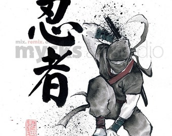PRINT Ninja Japanese Calligraphy with Original painting Sumie