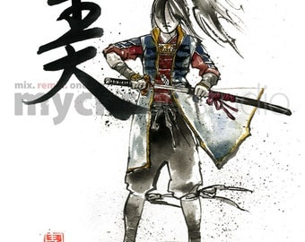 PRINT Female Samurai Drawing Sword BEAUTY 8x10