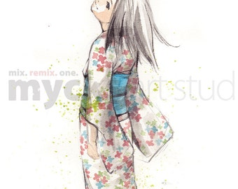 PRINT 8 x 10 Kimono Girl with Blue Obi Yukata with flowers