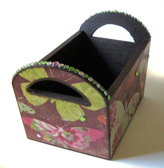 Trinket Basket with Decoupage Decorative desings Butterflies and Sparkles Vintage feel