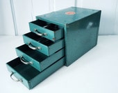 Vintage Industrial Decor Teal Wards Storage Chest