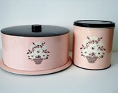 Pink Metal Cake Saver - Decoware - Pink and Black Canister - 1950s
