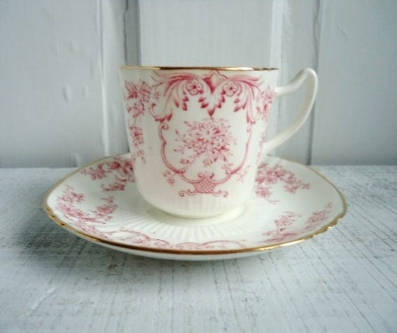 Gorgeous Vintage Pink Scroll Teacup and Saucer