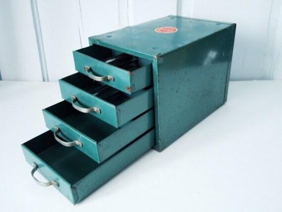 Vintage Industrial Decor Teal Wards Storage Chest