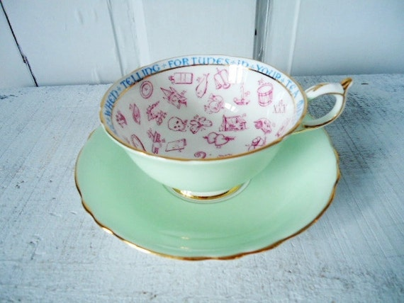 Vintage Deco Mint Green Paragon Fortune Telling Teacup and Saucer