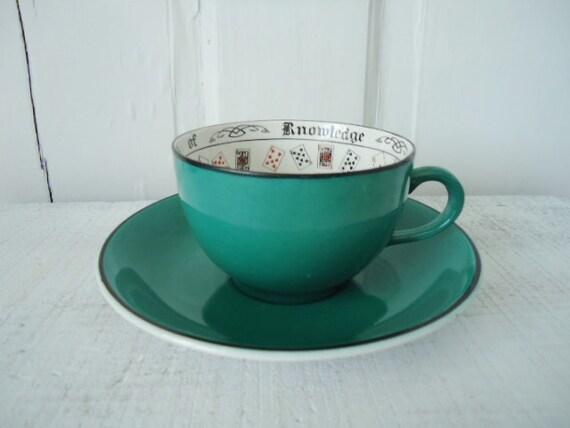 1920s Souvenir Teal Souvenier Fortune Telling Teacup and Saucer