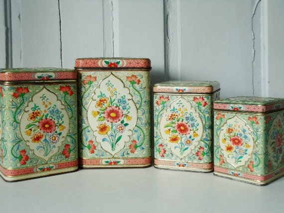 Vintage Turquoise and Pink Floral Canister Set made in Holland