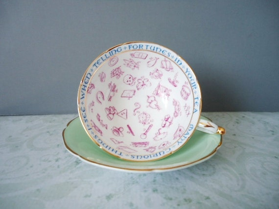 Paragon Fortune Telling Tea Cup and Saucer - Green Fortune Telling Teacup Set - Victorian Teacup Set