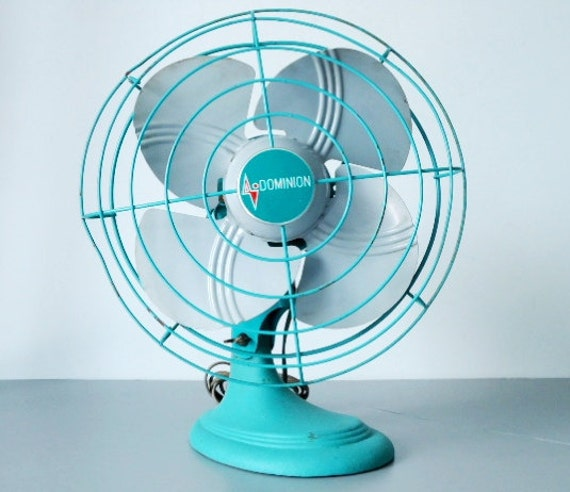 Dominion Turquoise 1950s Oscillating Desk Fan