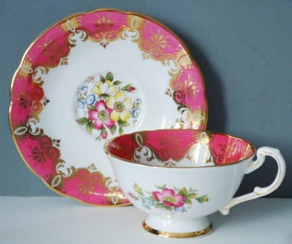 Tea Cup and Saucer - Vintage Teacup - Paragon - Teacup and Saucer Set - Pink and Gold Gilt