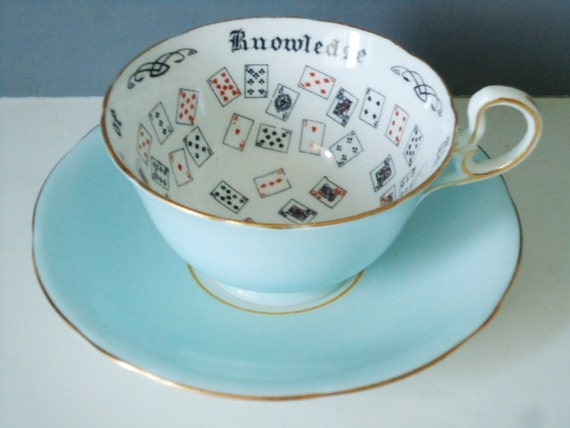 Fortune Tea Cup and Saucer - Aynsley Cup of Knowledge -  Pastel Blue - Teacup and Saucer
