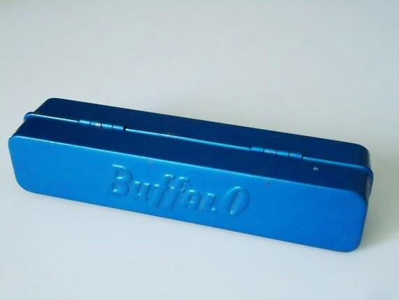 Vintage BuffalO Metal Tin - Industrial Metal Storage - Metal Storage Tin - Small Turquoise Tin