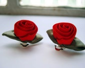 painting the roses red -CLIP ON- earrings (red and green ribbon roses on a clip on base)