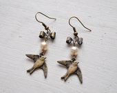 Wake Up Little Sparrow -earrings (bronze sparrow bird charms pearl and bronze bow charm)