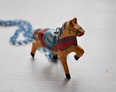 little horsey - long necklace (light blue chain with a wooden toy horse)