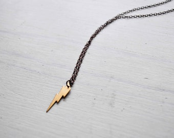 tiny thunder -necklace (gold plated thunder charm and vintage bronze chain minimal discreet neckpiece)