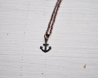 tiny anchor -necklace (bronze or silver anchor charm and vintage bronze chain minimal discreet neckpiece)