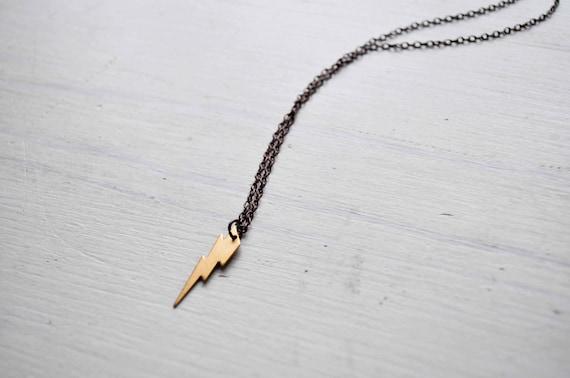 tiny thunder -necklace (gold plated thunder charm and vintage bronze chain minimal discreet neckpiece)