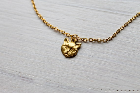 tiny dainty love kitten -necklace (gold kitty cat meow charm and gold plated chain minimal discreet neckpiece)