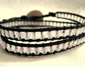 Japanese Cherryblossom, double leather wrap bracelet